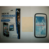Kit 3x1 Silicon+ Mica Privacidad+ Paño Galaxy S4 Mini I9190!