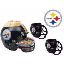 Casco Nfl Pittsburgh Steelers Combo Botanero Y 2cerveceros