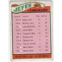 1977 Topps Mexican Jefes De Kansas City Team Checklist