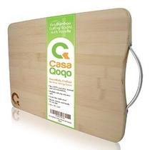 Eco De Bambú Tabla De Cortar Con Mango - Hecho De 100% Super