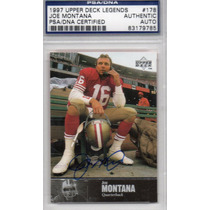 1997 Upper Deck Legends Psa / Dna Autografo Joe Montana