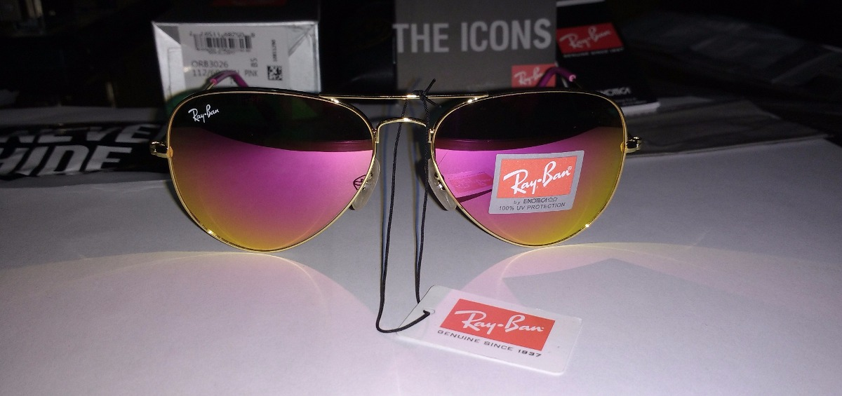 gafas ray ban aviador barbie pink aviator 3026 espejo