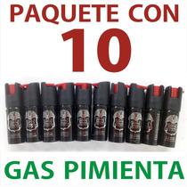 Paquete De 10 Mini Gas Pimienta Lacrimogeno Defensa Personal