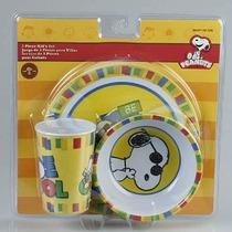 3 Pieza Snoopy Joe Cool Plastic Dish Set Incluye Copa Bowl Y