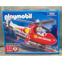 Helicoptero De Rescate Y Piloto Playmobil Fire Fighter 5842