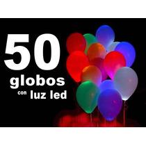 50 Globos Con Luz Led Colores Surtidos Fiestas Y Eventos