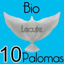 10 Globos Palomas Bio Biodegradables Boda Fiesta Bautizo