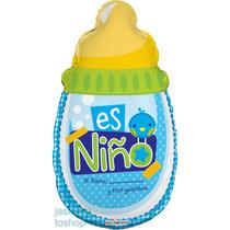 6 Globos Metalico 20pulg Biberon De Niño Baby Shower
