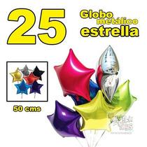 25 Globo Metálico Estrella 50 Cms-19 Pulg Decoración Eventos