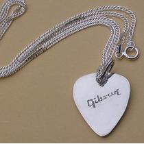 Dije Pua Plumilla De Guitarra Gibson Grabado Plata Auténtica