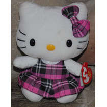 Ty Hello Kitty Con Vestido Rosa Con Negro Rayado Hm4