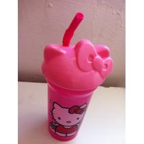 Hermoso Vaso Tapa Y Popote Hello Kitty Rosa! Nuevo