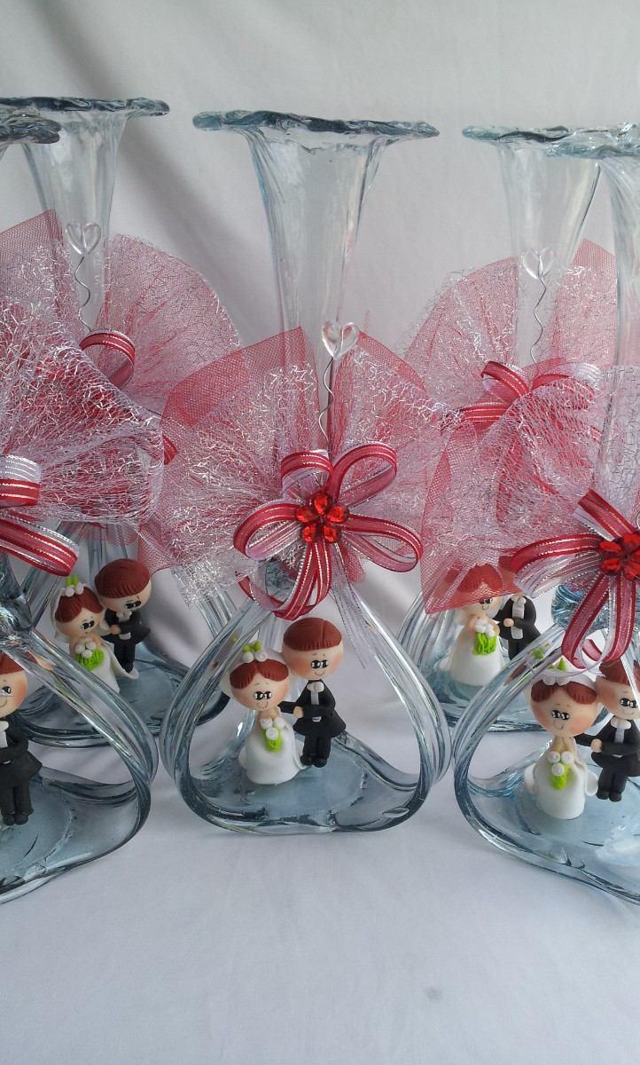 Hermoso centro de mesa boda florero vidrio soplado novios - Mesas de cristal para bodas ...