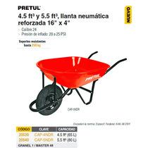 Carretilla 5 Ft Llanta Neumatica Reforzada Pretul Roja