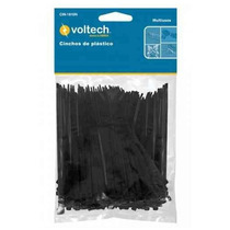 100 Cinchos De Plastico Negros De 10cm 18lb Voltech 44320