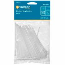 100 Cinchos De Plastico Blancos De 15 Cm 18 Lb Voltech 44301