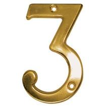 Número Decorativo #3 Latón Antiguo Dexter