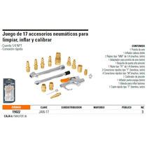 Juego De 17 Accesorios Neumáticos Para Limpiar, Inflar Y Cal