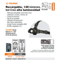 Linterna De Cabeza Recargable 120 Lm.