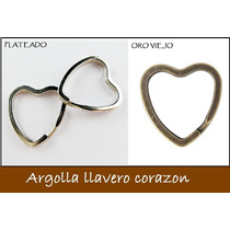 10 Piezas Argolla De Corazon Para Llavero Plata Y Oro Viejo