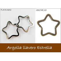 10 Piezas Argolla De Estrella Para Llavero Plata Y Oro Viejo