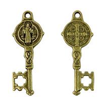 Paquete 20 Dije Llave De San Benito 3cm Oro Viejo Medalla