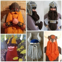 Gorro Vikingo Medieval Con Barba Tejido