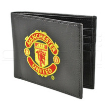 Manchester United Monedero - Cresta De Bordado Negro Cuero