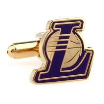 Mancuernillas Angeles Lakers Basketball Nba Logo Traje Acero