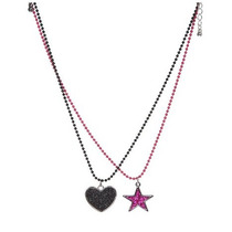 Hot Topic Collar Black Heart Pink Star Necklace 2 Pack