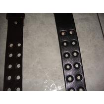 Cintos Caballero Negro Y Cafe Piel Genuina Perforados