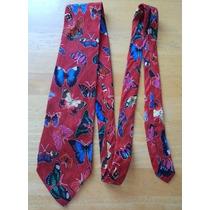 Corbata Roja Estampado De Mariposas Corb81