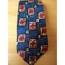 Corbata Azul Con Estampado En Rojo Corb105