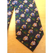 Corbata Azul Marino Navidad Esferas Y Campanitas! Corb36