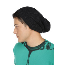 Hot Topic Gorro Black Crochet Slouch Beanie