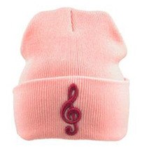 Exclusivo Gorro Con Clave De Sol Bordada En Color Rosa