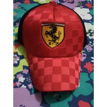 Gorra Negra Con Rojo Ferrari Ajustable Nueva