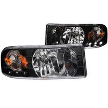 Dodge Ram 94-01 Crystal H.l Black With Led Amber