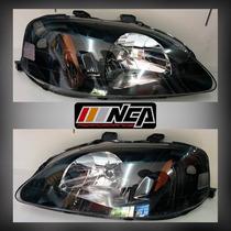 Faros Estilo Jdm Black Housing 99-00 Honda Civic Nca