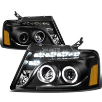 Faros Negros Lupa Ojo De Angel Led Ford F150 Lobo 2006 2007