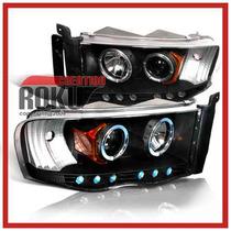 Faros Proyectores Negros Dodge Ram Pick Up 03 04 05 Hemi Eye