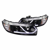 Faros De Lupa + Led Drl Negros Para Civic Coupe 2006 - 2011