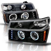 Par Faros Lupa Led Negros Chevrolet Colorado 2004 2005 2006