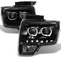 Faros Negros Lupa Ojo De Angel Led Ford F150 2012 2013 2014