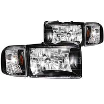 Dodge Ram 94-01 Crystal H.l Black Amber With Corner Light