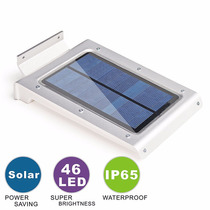 Lampara Solar 46 Led Uso Exterior, Acero Inoxidable