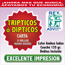 1000 Folletos Todo Color $1.50 C/u Bipticos Tripticos Couché