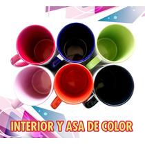 48 Tazas 11oz De Color Asa Y Interior Para Sublimar