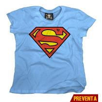 Playera Logo Superman Dama Marca Dc Comics