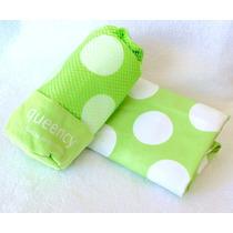 Toalla De Microfibra Queency 80x130 Verde C/ Puntos Blancos